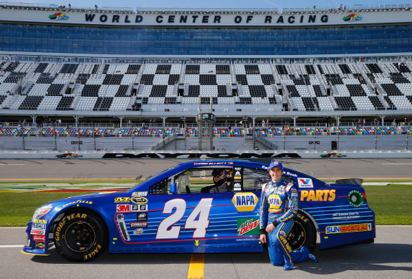 13-21 February, 2016, Daytona Beach, Florida USA   Chase Elliott, driver of the #24 NAPA Auto Parts Chevrolet, poses with his car after winning the Pole Award during qualifying for the NASCAR Sprint Cup Series Daytona 500 at Daytona International Speedway on February 14, 2016 in Daytona Beach, Florida.   LAT Photo USA via NASCAR via Getty Images