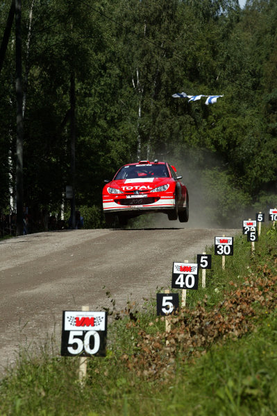 2003 FIA World Rally Champs. Round nine, Neste Rally Finland. Rally7th-10th August 2003.Marcus Gronholm, Peugeot, action. World Copyright: McKlein/LAT