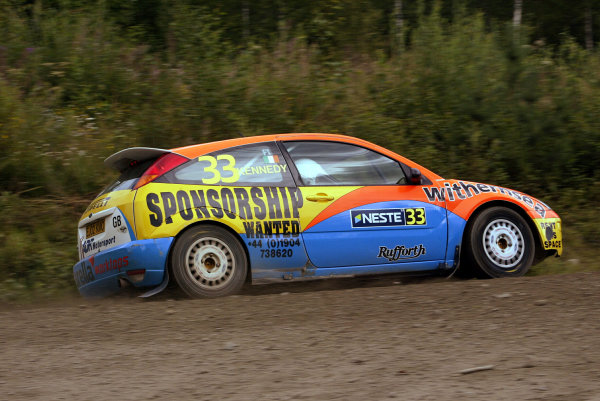 2003 FIA World Rally Champs. Round nine, Neste Rally Finland. Rally7th-10th August 2003.Alister Ginley, Ford, action. World Copyright: McKlein/LAT