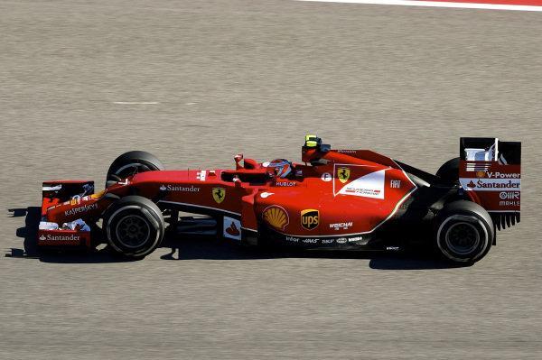 Kimi Raikkonen (FIN) Ferrari F14 T.Formula One World Championship, Rd17, United States Grand Prix, Practice, Austin, Texas, USA, Friday 31 October 2014.