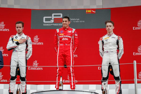 Anthoine Hubert (FRA, ART Grand Prix) Giuliano Alesi (FRA, Trident) and Jake Hughes (GBR, ART Grand Prix)