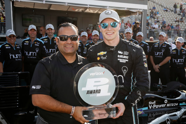 Verizon IndyCar Series GoPro Grand Prix of Sonoma Sonoma Raceway, Sonoma, CA USA Saturday 16 September 2017 Verizon P1 Pole Award winner Josef Newgarden, Team Penske Chevrolet with Steven Williams of Verizon World Copyright: Michael L. Levitt LAT Images