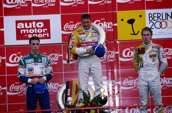 The podium (L to R):  Massimilliano (Max) Angelelli (ITA) second; Jos Verstappen (NED) winner; Michael Krumm (GER) third.German Formula Three Championship, Avus, Germany, 11 September 1993.