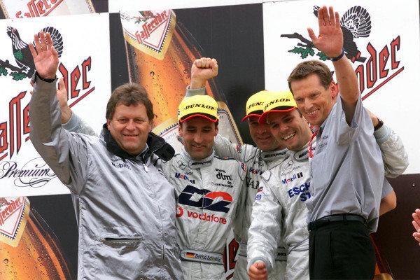 L-R: Norbert Haug, Bernd Schnieder - 2nd, Uwe Alzen - 1st, Marcel Tiemann - 3rd, AMG team managerDTM Championship - Norisring, Germany - 8 July 2001