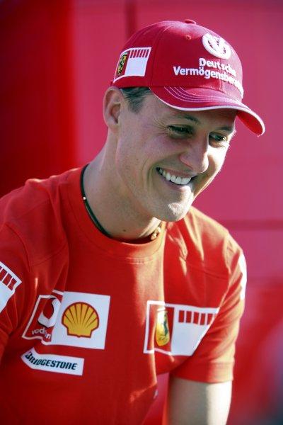 2006 British Grand Prix - Saturday Qualifying Silverstone, England. 8th - 11th June. Michael Schumacher, Ferrari 248F1, 2nd position, portrait. World Copyright: Lorenzo Bellanca/LAT Photographic ref: Digital Image ZD2J3867