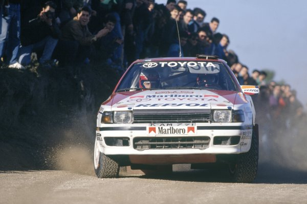 1990 World Rally Championship.Portuguese Rally, Portugal. 6-10 March 1990.Carlos Sainz/Luis Moya (Toyota Celica GT-4).World Copyright: LAT PhotographicRef: 35mm transparency 90RALLY06