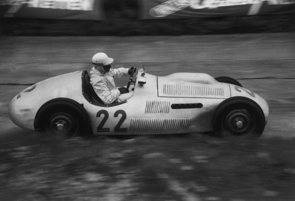 Nurburgring, Germany. 30th July - 1st August 1954.Theo Helfrich (Klenk Meteor-BMW), retired, action. World Copyright: LAT Photographic.Ref:  B/W Print.