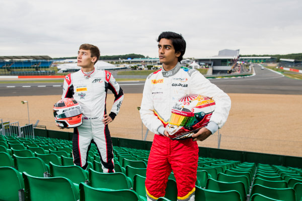 2017 GP3 Series Round 3.  Silverstone, Northamptonshire, UK. Thursday 13 July 2017. George Russell (GBR, ART Grand Prix) and Raoul Hyman (RSA, Campos Racing).  Photo: Zak Mauger/GP3 Series Media Service. ref: Digital Image _56I6399