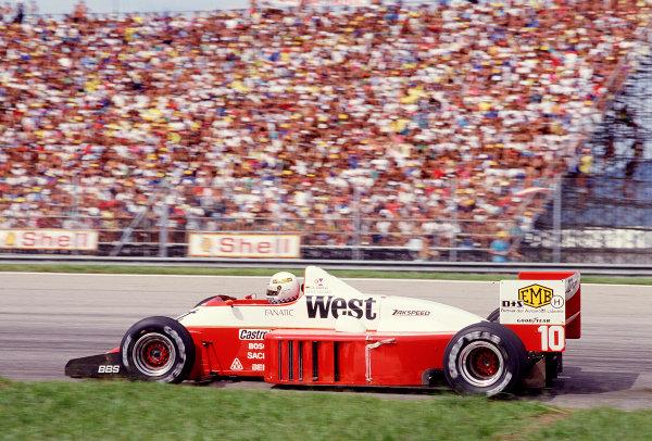 1987 Brazilian Grand Prix.Jacarepegua, Rio de Janeiro, Brazil.10-12 April 1987.Christian Danner (Zakspeed 861) 9th position.Ref-87 BRA 28.World Copyright - LAT Photographic