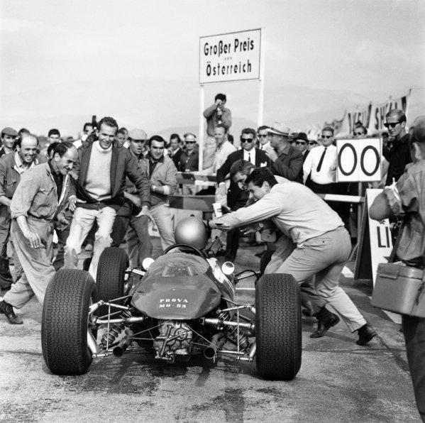 Zeltweg, Austria.21-23 August 1964.Lorenzo Bandini (Ferrari 156) 1st position for his maiden and only Grand Prix win, action.World Copyright - LAT PhotographicRef: 26303