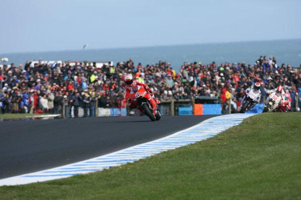 Phillip Island Australia Oct 15-17Casey Stoner Marlboro Ducati Team leads on the first lap
