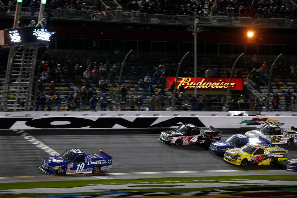 19-20 February 2015, Daytona Beach, Florida, USA Tyler Reddick takes the checkered flag and win while a 4-wide pack battles for 2nd place ©2015, Michael L. Levitt LAT Photo USA