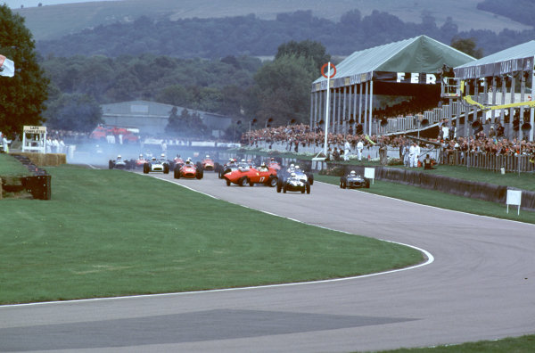 2000 Goodwood Motor Circuit Revival. Goodwood, England. 15th - 17th September 2000. Nigel Corner is catapulted out of his Ferrari Dino at the start of the race, action.  World Copyright: Jeff Bloxham / LAT Photographic. Ref:  FoS02.