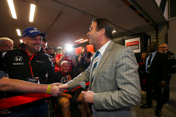 Autosport International Exhibition. National Exhibition Centre, Birmingham, UK. Sunday 14th January, 2018. Nigel Mansell opens the show.World Copyright: Mike Hoyer/JEP/LAT Images Ref: AQ2Y9490