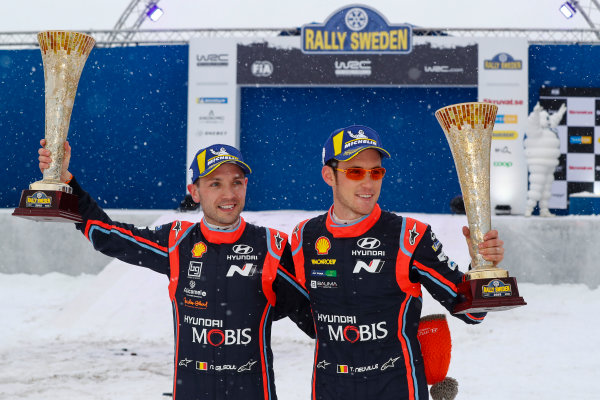 2018 FIA World Rally Championship, Round 02, Rally Sweden 2018, February 15-18, 2018. Thierry Neuville, Nicolas Gilsoul, Hyundai, Podium Worldwide Copyright: McKlein/LAT