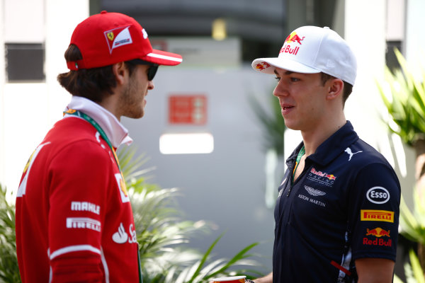 Sochi Autodrom, Sochi, Russia. Friday 28 April 2017. Antonio Giovinazzi, Ferrari, with Pierre Gasly, Reserve Driver, Red Bull Racing. World Copyright: Andy Hone/LAT Images ref: Digital Image _ONZ9009