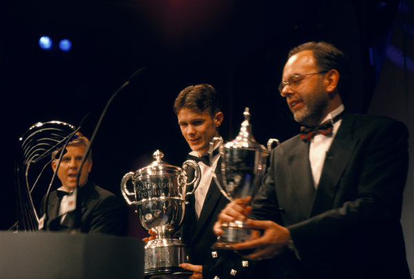 1997 Autosport Awards. Grosvenor House Hotel, Park Lane, London, Great Britain. 7 December 1997. Andrew Kirkaldy wins the Autosport/McLaren Young Driver of the Year award. World Copyright: LAT Photographic. Ref:  Colour Transparency.