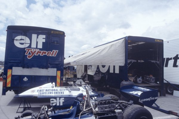 1977 Spanish Grand Prix.Jarama, Madrid, Spain 6th-8th May 1977.Elf Team Tyrrell transporters in the paddock.World Copyright - LAT PhotographicRef: 35mm Colour Transparency