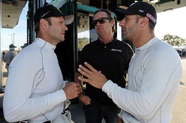 L-R: Rubens Barrichello (BRA), Jimmy Vasser (USA) and Tony Kanaan (BRA). Rubens Barrichello IndyCar Test, Sebring, Florida, USA, Tuesday 31 January 2012.