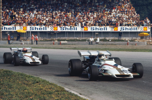 1971 Italian Grand Prix.  Monza, Italy. 3rd-5th September 1971.  Howden Ganley, BRM P160, leads Jo Siffert, BRM P160.  Ref: 71ITA43. World Copyright: LAT Photographic