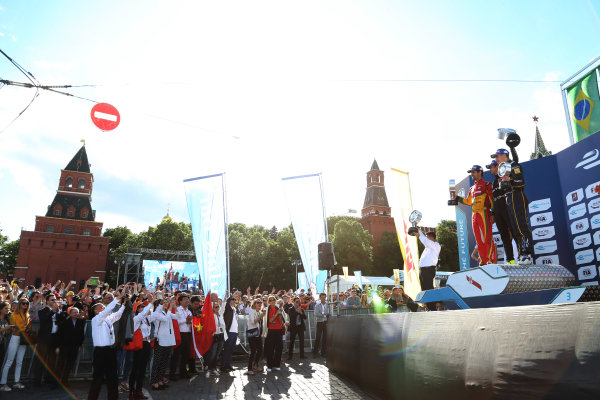 2014/2015 FIA Formula E Championship. Moscow ePrix, Moscow, Russia. Saturday 6 June 2015 Podium. 1st, Nelson Piquet Jr (BRA)/China Racing - Spark-Renault SRT_01E, 2nd, Lucas di Grassi (BRA)/Audi Abt Sport - Spark-Renault SRT_01E and 3rd, Sebastien Buemi (SWI)/E.dams Renault - Spark-Renault SRT_01E. Photo: Jed Leicester/LAT/Formula E ref: Digital Image JL1_9802