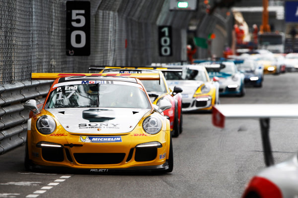 Porsche Supercup Round 2 Monte Carlo, Monaco. Sunday 24 May 2015. Philipp Eng, No.17 Market Leader by Project 1. World Copyright: Sam Bloxham/LAT Photographic. ref: Digital Image _G7C9320