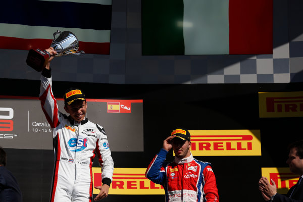 2016 GP3 Series Round 1 Circuit de Catalunya, Barcelona, Spain. Sunday 15 May 2016. Alexander Albon (THA, ART Grand Prix) & Antonio Fuoco (ITA, Trident)  Photo: Sam Bloxham/GP3 Series Media Service. ref: Digital Image _R6T9462