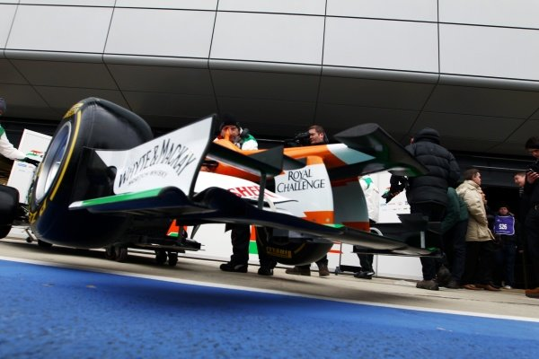 The new Force India VJM05 front wing. Sahara Force India VJM05 Unveil, Silverstone, England, Friday 3 February 2012.