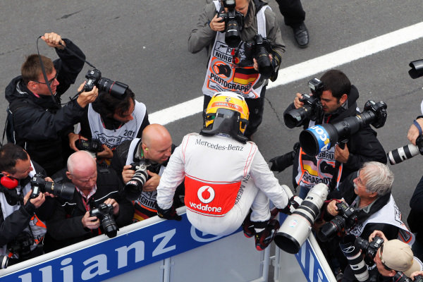 Race winner Lewis Hamilton (GBR) McLaren celebrates in parc ferme. Formula One World Championship, Rd 10, German Grand Prix, Race, Nurburgring, Germany, Sunday 24 July 2011.  BEST IMAGE