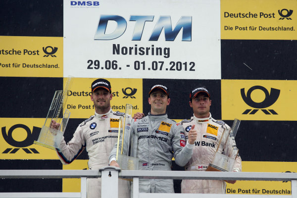 Round 5 - Norisring, Germany29th June - 1st July 2010Podium, 2nd Martin Tomczyk (GER) BMW Team RMG BMW M3 DTM, 1st Jamie Green (GBR), Team HWA AMG Mercedes, AMG Mercedes C-Coupe, 3rd Bruno Spengler (CAN) BMW Team Schnitzer BMW M3 DTM.World Copyright: XPB Images/LAT Photographic ref: Digital Image 2253219_HiRes
