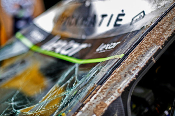 Damage to the car of Lorenzo Bertelli (ITA) / Simone Scattolin (ITA), M-Sport World Rally Team Ford Fiesta RS WRC at World Rally Championship, Rd3, Rally Mexico, Day Two, Leon, Mexico, 11 March 2017.