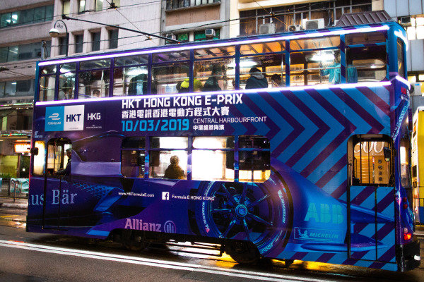 Hong Kong bus with ePrix advertising
