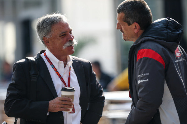 Chase Carey (USA) Chief Executive Officer and Executive Chairman of the Formula One Group and Guenther Steiner (ITA) Haas F1 Team Principal at Formula One World Championship, Rd18, Mexican Grand Prix, Race, Circuit Hermanos Rodriguez, Mexico City, Mexico, Sunday 29 October 2017.