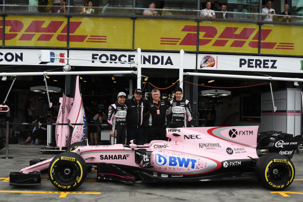 Sergio Perez (MEX) Force India, Otmar Szafnauer (USA) Force India Formula One Team Chief Operating Officer and Esteban Ocon (FRA) Force India F1 at Formula One World Championship, Rd1, Australian Grand Prix, Practice, Albert Park, Melbourne, Australia, Friday 24 March 2017.