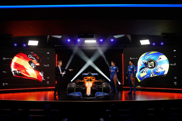 The McLaren MCL35 Renault is launched. Simon Lazenby, Sky TV, Lando Norris, McLaren, and Carlos Sainz Jr, McLaren, discuss the car on stage