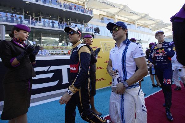 Felipe Massa, Williams and Pastor Maldonado, Lotus on the drivers parade.