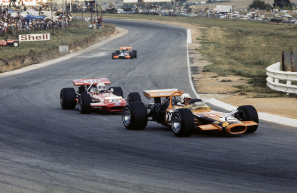 John Love, Lotus 49 Ford leads Chris Amon, March 701 Ford.