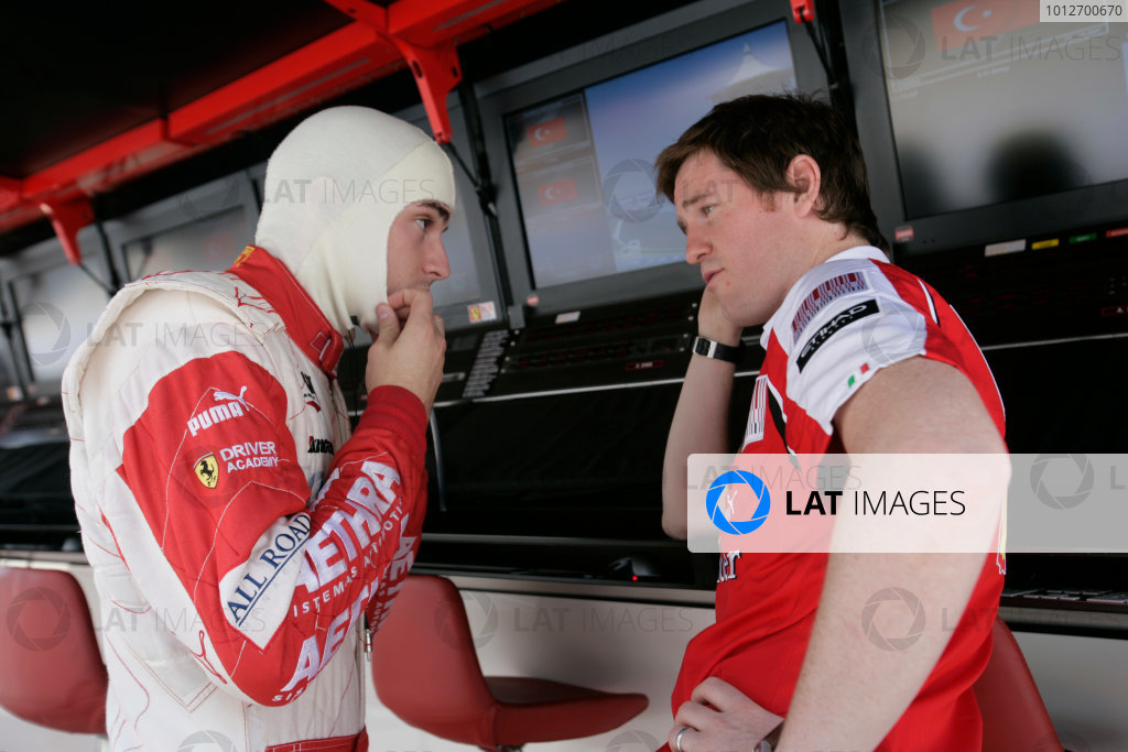 Round 3 Istanbul Park, Istanbul Turkey 30th May. Sunday Race.Jules Bianchi (FRA, ART Grand Prix) talks with Rob Smedley Ferrari before the start of the race. Photo: Alastair Staley/GP2 Media Service.Ref: _P9O5550 jpg