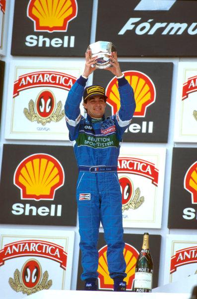 Interlagos, Brazil.29-31 March 1996.Jean Alesi (Benetton B196 Renaul) 2nd position.Ref-96 BRA 04.World Copyright - LAT Photographic