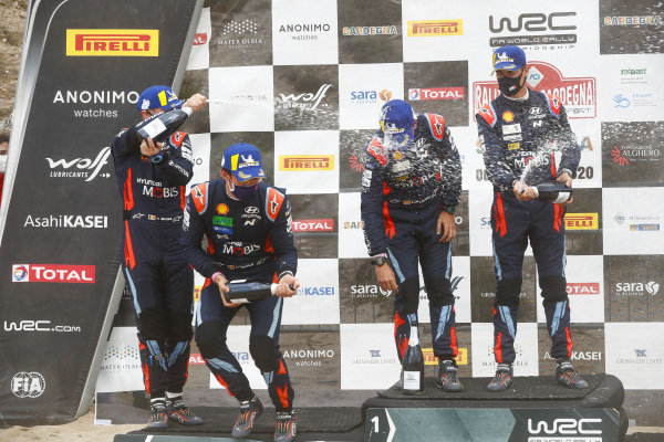 Dani Sordo (ESP), Carlos del Barrio (ESP), Thierry Neuville (BEL) and Nicolas Gilsoul (BEL), Hyundai World Rally Team, Hyundai i20 Coupe WRC 2020