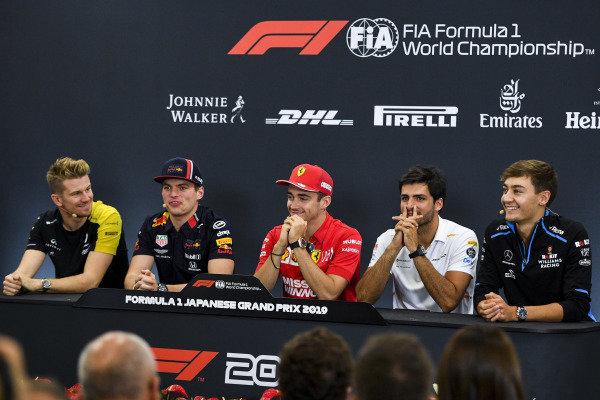 Nico Hulkenberg, Renault F1 Team, Max Verstappen, Red Bull Racing, Charles Leclerc, Ferrari, Carlos Sainz Jr, McLaren and George Russell, Williams Racing in the Press Conference