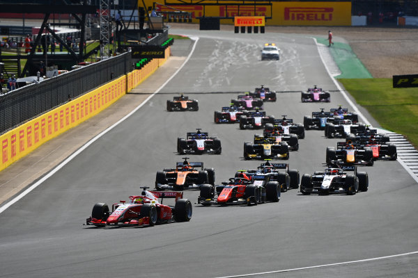 Mick Schumacher (DEU, PREMA RACING), leads Felipe Drugovich (BRA, MP MOTORSPORT), Nikita Mazepin (RUS, HITECH GRAND PRIX), Jack Aitken (GBR, CAMPOS RACING), and the rest of the field at the start