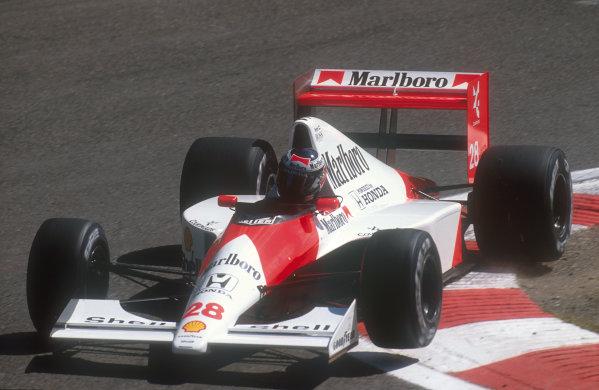 1990 Belgian Grand Prix.Spa-Francorchamps, Belgium.24-26 August 1990.Gerhard Berger (McLaren Honda) 3rd position.Ref-90 BEL 11.World Copyright - LAT Photographic