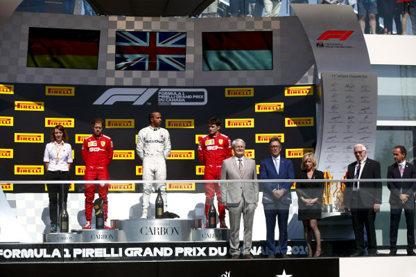 Sebastian Vettel, Ferrari, Lewis Hamilton, Mercedes AMG F1and Charles Leclerc, Ferrari on the podium