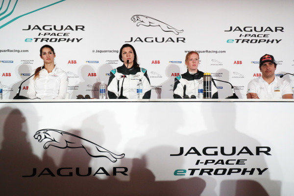 Célia Martin (FRE), Viessman Jaguar eTROPHY Team Germany, Katherine Legge (GBR), Rahal Letterman Lanigan Racing, Alice Powell (GBR), Jaguar VIP car and Cacá Bueno (BRA), Jaguar Brazil Racing in the press conference