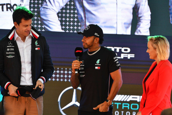 Toto Wolff, Executive Director (Business), Mercedes AMG, and Lewis Hamilton, Mercedes AMG F1, at the Federation Square event