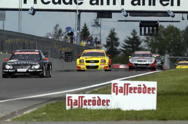 2002 DTM Championship Nurburgring, Germany. 2th - 4th August 2002. Race winner Uwe Alzen (Mercedes CLK-DTM) leads Laurent Aiello (Abt Audi TT-R) and Bernd Schneider, action.World Copyright: Andre Irlmeier/LAT Photographic