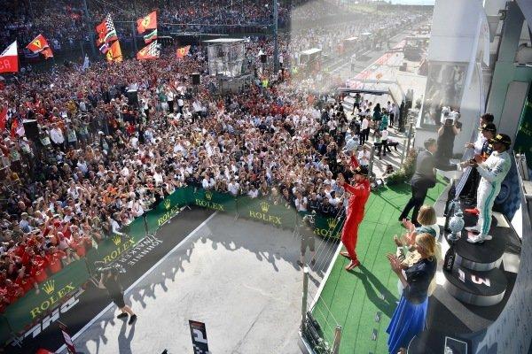 Sebastian Vettel, Ferrari, 3rd position, celebrates on the podium