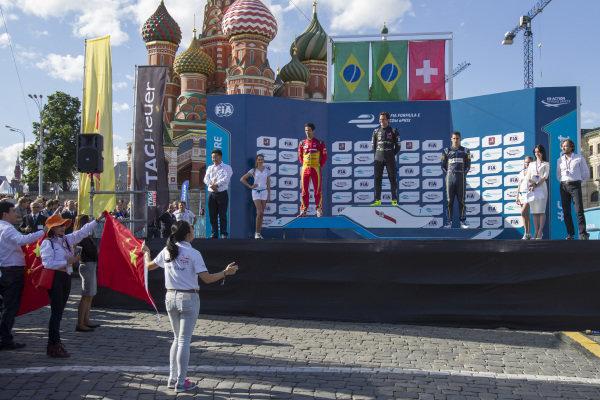 Nelson Piquet Jr (BRA) - NEXTEV TCR Formula E Team Lucas di Grassi (BRA) - Audi Sport ABT and Sebastien Buemi (SUI) - Team e-dams Renault on the podium at Formula E Championship, Rd9, Moscow, Russia, 4-6 June 2015.