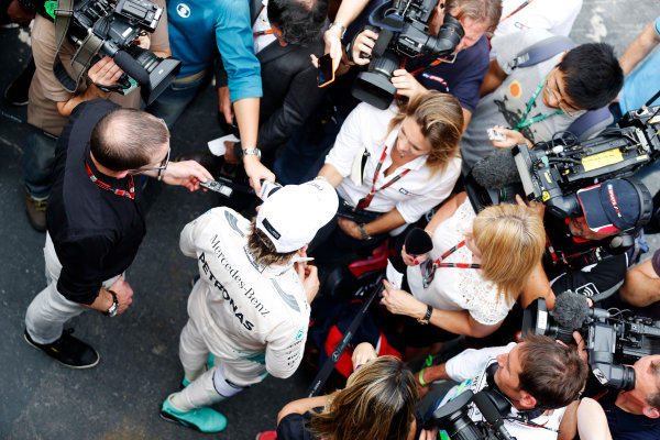 Interlagos, Sao Paulo, Brazil. Friday 13 November 2015. Nico Rosberg, Mercedes AMG, gives an interview. World Copyright: Alastair Staley/LAT Photographic ref: Digital Image _R6T3692